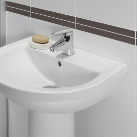 Fixation lavabo traversante