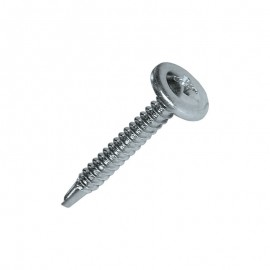 bright zinc-plated steel, self-drilling screw, wide round headround