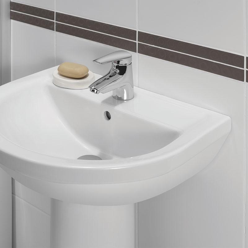 Fixation lavabo traversante