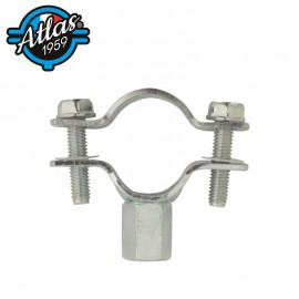 classic double-flanged zinc-plated steel pipe clip