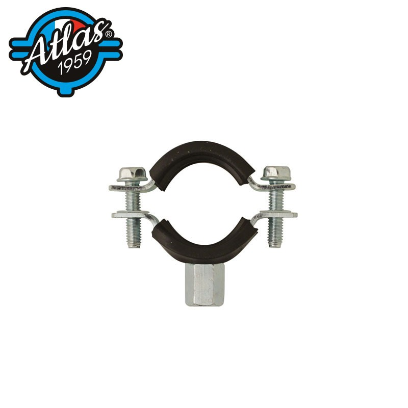 Isophonic double-flanged zinc-plated pipe clip